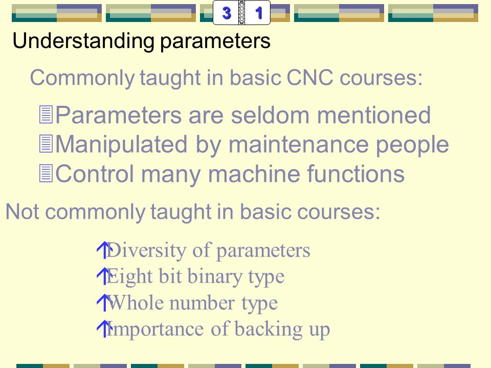 31 Commonly taught in basic CNC courses: 3Parameters are seldom mentioned 3Manipulated by maintenance people 3Control many machine functions Understanding parameters On a 16 series Fanuc control, parameter number 103 sets the baud rate for program transfers.