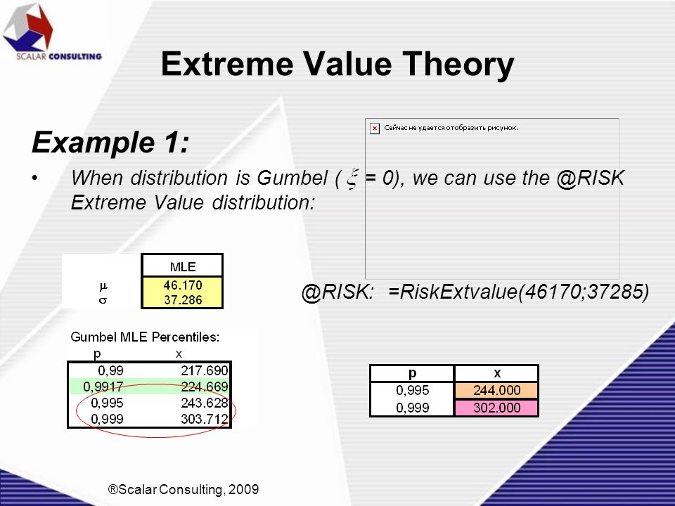 Extreme Value Theory Example 1: When distribution is Gumbel ( = 0), we can use the @RISK Extreme Value distribution: @RISK: =RiskExtvalue(46170;37285)