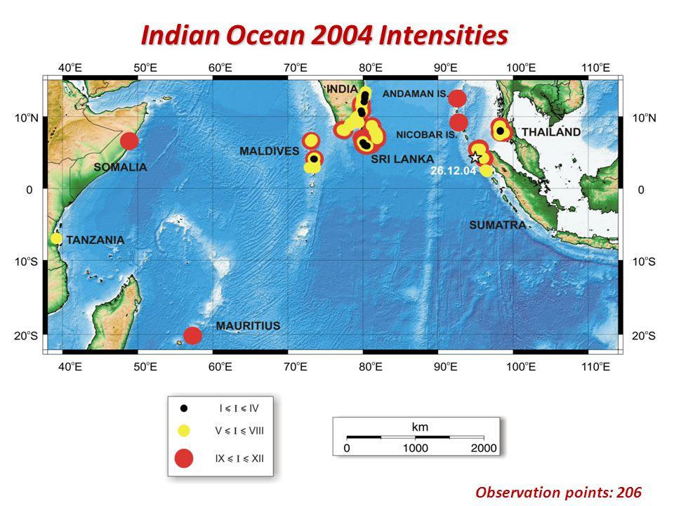 Observation points: 206 Indian Ocean 2004 Intensities