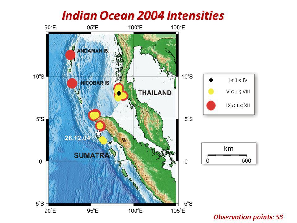 Observation points: 53 Indian Ocean 2004 Intensities
