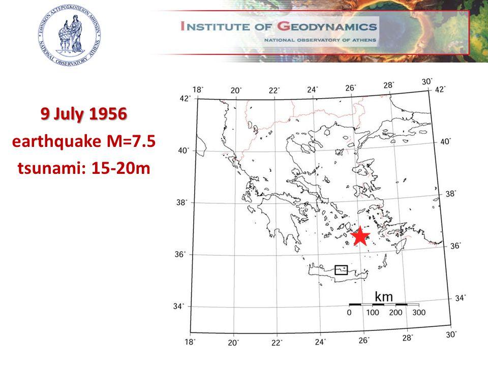 9 July 1956 earthquake M=7.5 tsunami: 15-20m