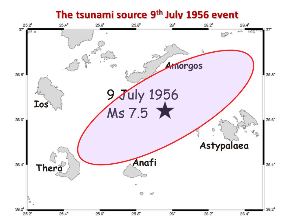 The tsunami source 9 th July 1956 event