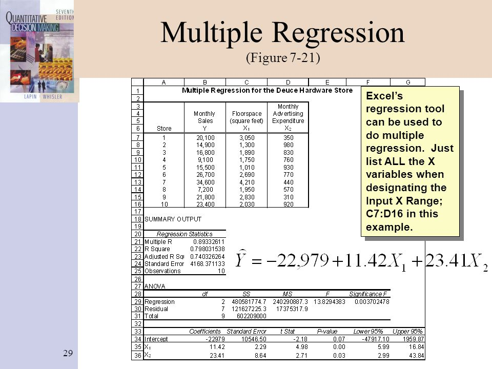 29 Multiple Regression (Figure 7-21) Excel's regression tool can be used to do multiple regression. Just list ALL the X variables when designating the