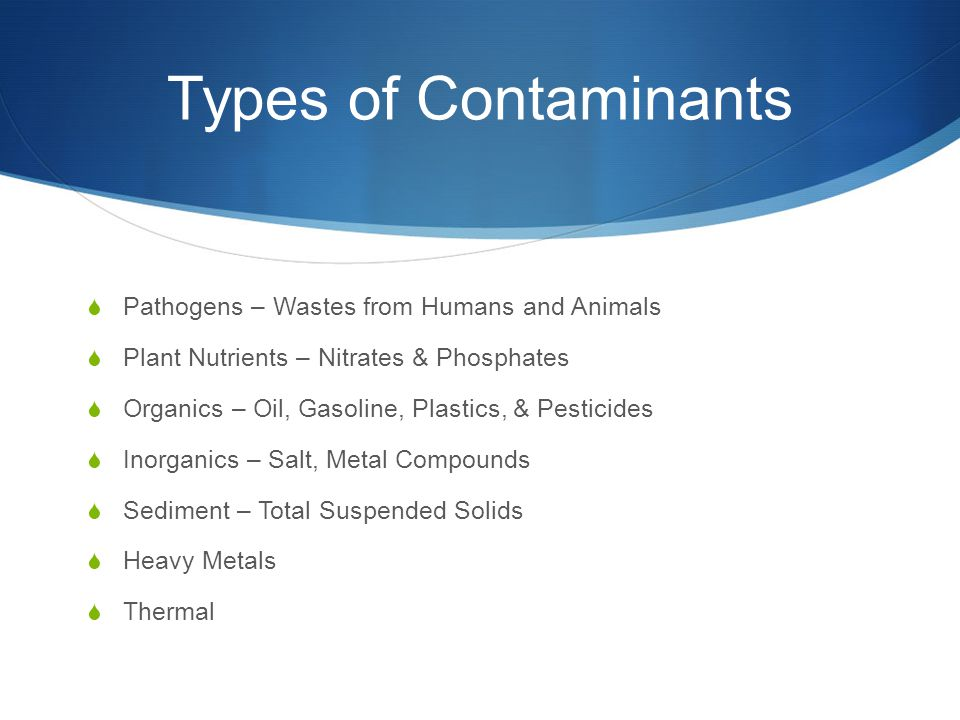 Types of Contaminants  Pathogens – Wastes from Humans and Animals  Plant Nutrients – Nitrates & Phosphates  Organics – Oil, Gasoline, Plastics, & P