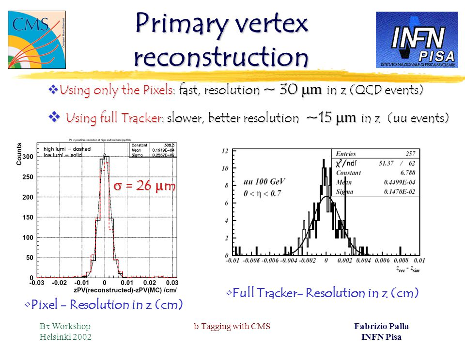 B  Workshop Helsinki 2002 b Tagging with CMSFabrizio Palla INFN Pisa Primary vertex reconstruction  = 26  m Pixel - Resolution in z (cm)  Using only the Pixels: fast, resolution ~ 30  m in z (QCD events)  Using full Tracker: slower, better resolution ~15  m in z (uu events) Full Tracker- Resolution in z (cm)
