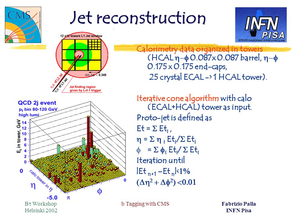 B  Workshop Helsinki 2002 b Tagging with CMSFabrizio Palla INFN Pisa Jet reconstruction Calorimetry data organized in towers (HCAL  0.087x 0.087 barrel,  0.175 x 0.175 end-caps, 25 crystal ECAL -> 1 HCAL tower).