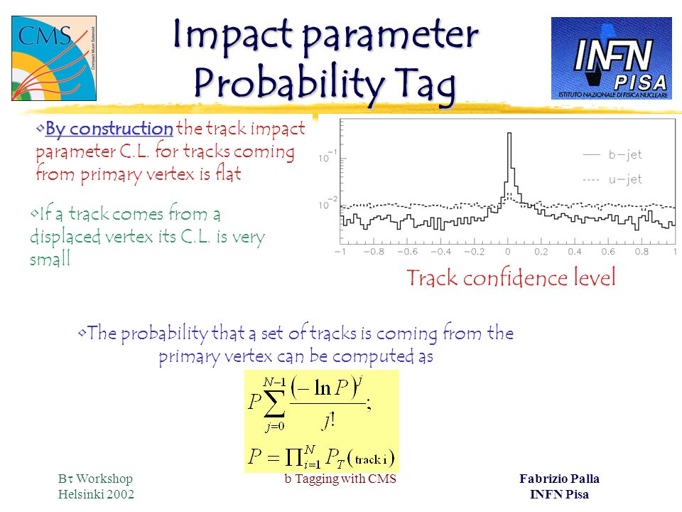 B  Workshop Helsinki 2002 b Tagging with CMSFabrizio Palla INFN Pisa Impact parameter Probability Tag The probability that a set of tracks is coming from the primary vertex can be computed as By constructionBy construction the track impact parameter C.L.