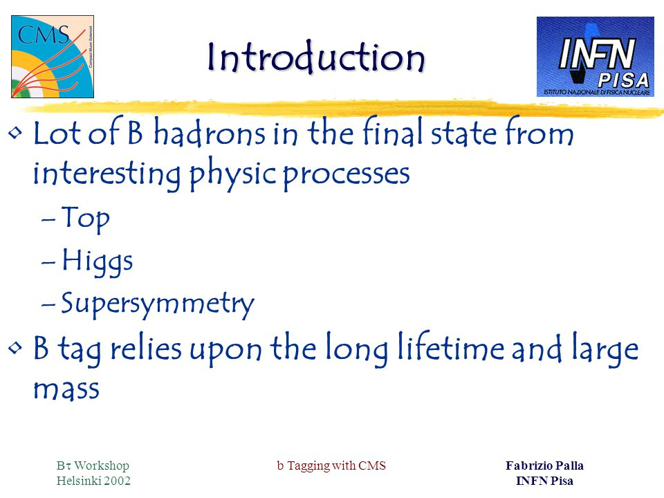 B  Workshop Helsinki 2002 b Tagging with CMSFabrizio Palla INFN Pisa Introduction Lot of B hadrons in the final state from interesting physic processes –Top –Higgs –Supersymmetry B tag relies upon the long lifetime and large mass