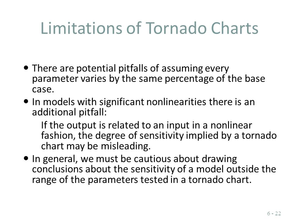 Limitations of Tornado Charts There are potential pitfalls of assuming every parameter varies by the same percentage of the base case. In models with