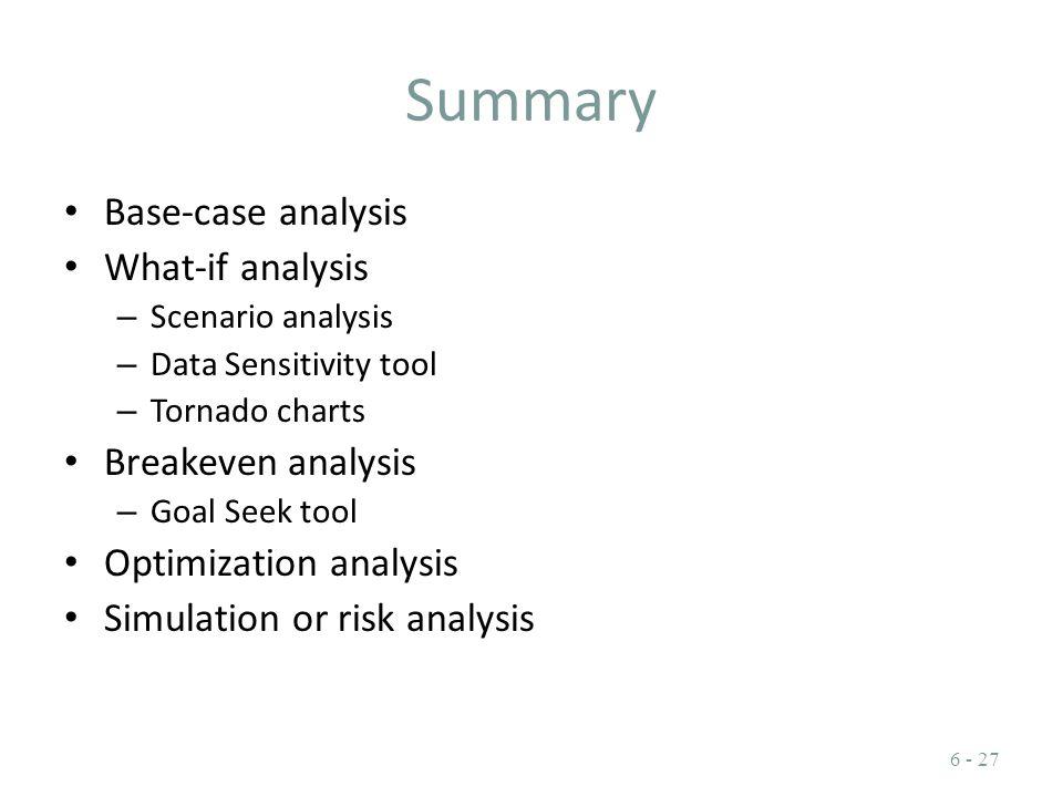 Summary Base-case analysis What-if analysis – Scenario analysis – Data Sensitivity tool – Tornado charts Breakeven analysis – Goal Seek tool Optimizat