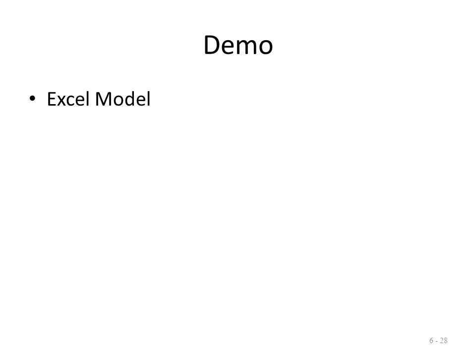 Demo Excel Model 6 - 28