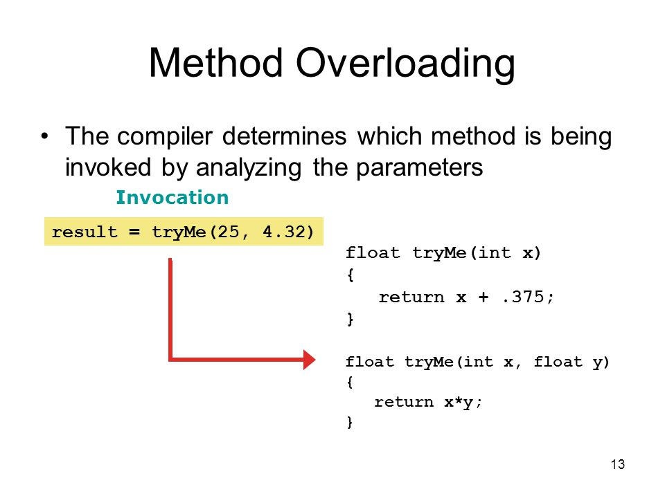 13 Method Overloading The compiler determines which method is being invoked by analyzing the parameters float tryMe(int x) { return x +.375; } float tryMe(int x, float y) { return x*y; } result = tryMe(25, 4.32) Invocation