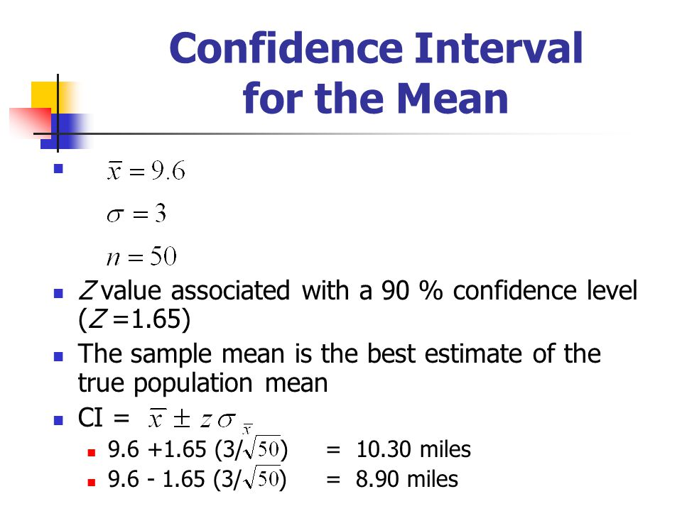 Confidence Interval for the Mean Z value associated with a 90 % confidence level (Z =1.65) The sample mean is the best estimate of the true population