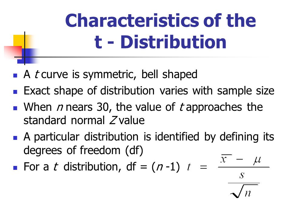 Characteristics of the t - Distribution A t curve is symmetric, bell shaped Exact shape of distribution varies with sample size When n nears 30, the v