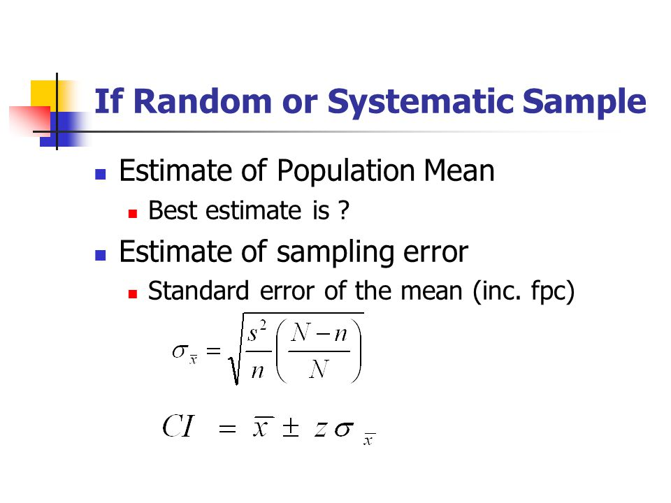 If Random or Systematic Sample Estimate of Population Mean Best estimate is ? Estimate of sampling error Standard error of the mean (inc. fpc)