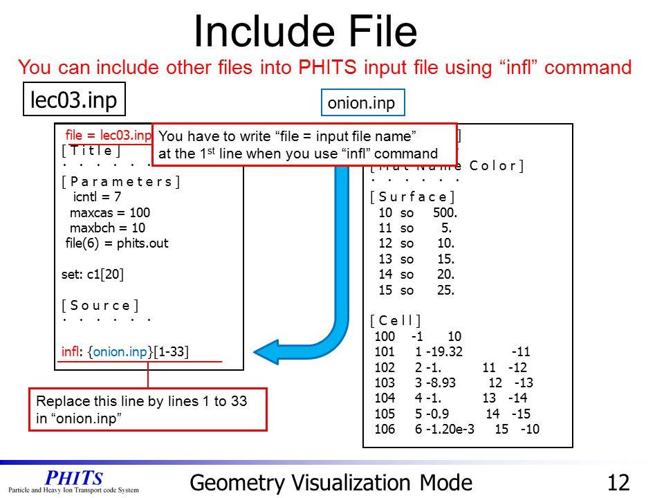 file = lec03.inp [ T i t l e ] ・ ・ ・ [ P a r a m e t e r s ] icntl = 7 maxcas = 100 maxbch = 10 file(6) = phits.out set: c1[20] [ S o u r c e ] ・ ・ ・