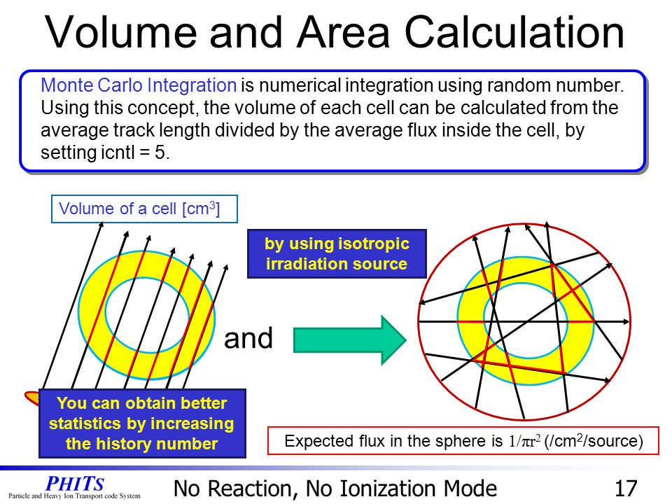 Volume and Area Calculation 17 Volume of a cell [cm 3 ] You can obtain better statistics by increasing the history number Monte Carlo Integration is n