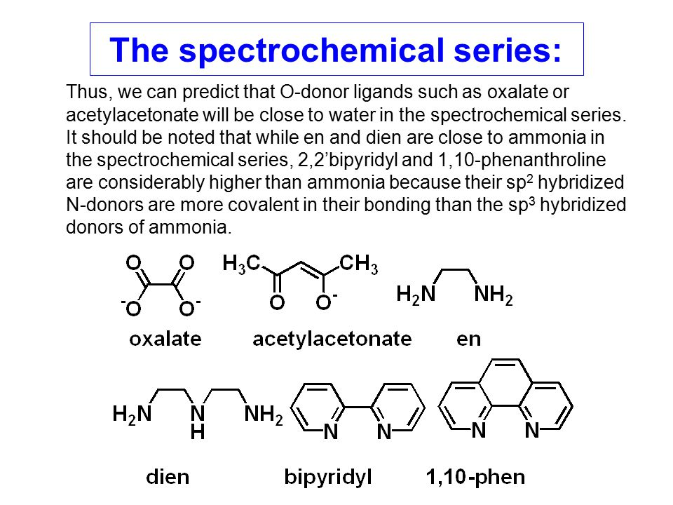 Thus, we can predict that O-donor ligands such as oxalate or acetylacetonate will be close to water in the spectrochemical series. It should be noted