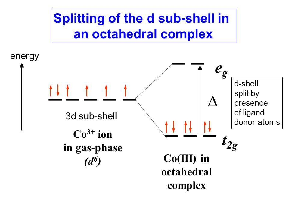 energy egeg t 2g Co 3+ ion in gas-phase (d 6 ) Δ Co(III) in octahedral complex 3d sub-shell d-shell split by presence of ligand donor-atoms Splitting