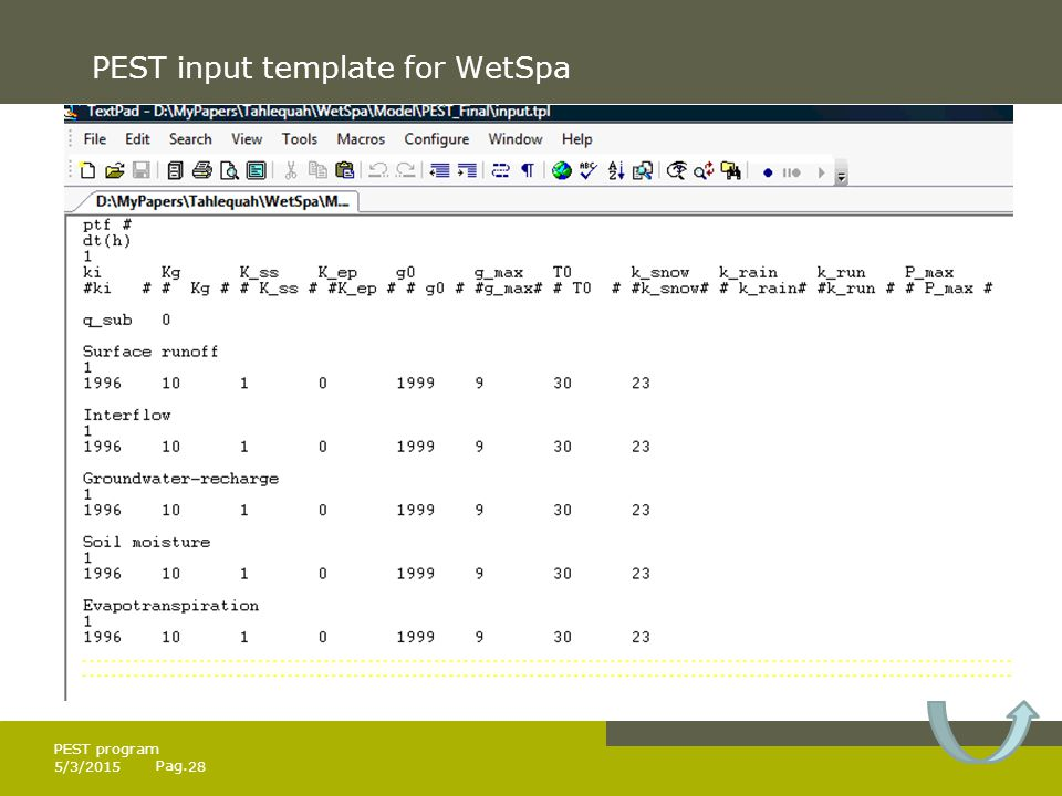 Pag. PEST input template for WetSpa 5/3/201528 PEST program