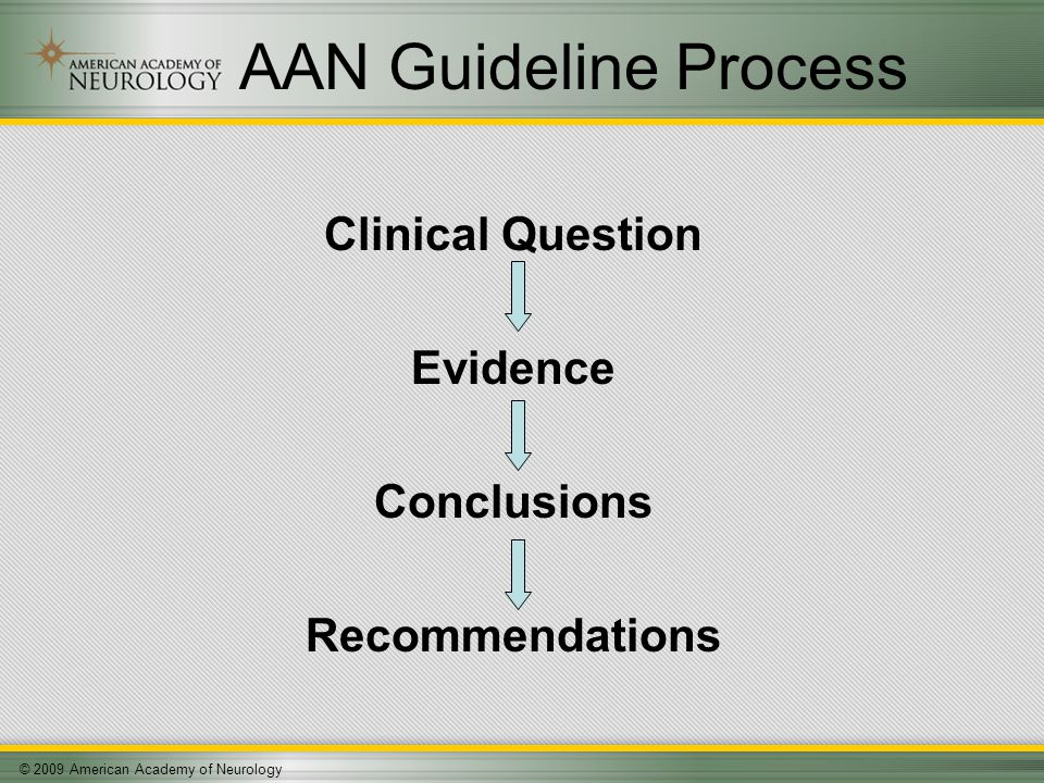 © 2009 American Academy of Neurology AAN Guideline Process Clinical Question Evidence Conclusions Recommendations