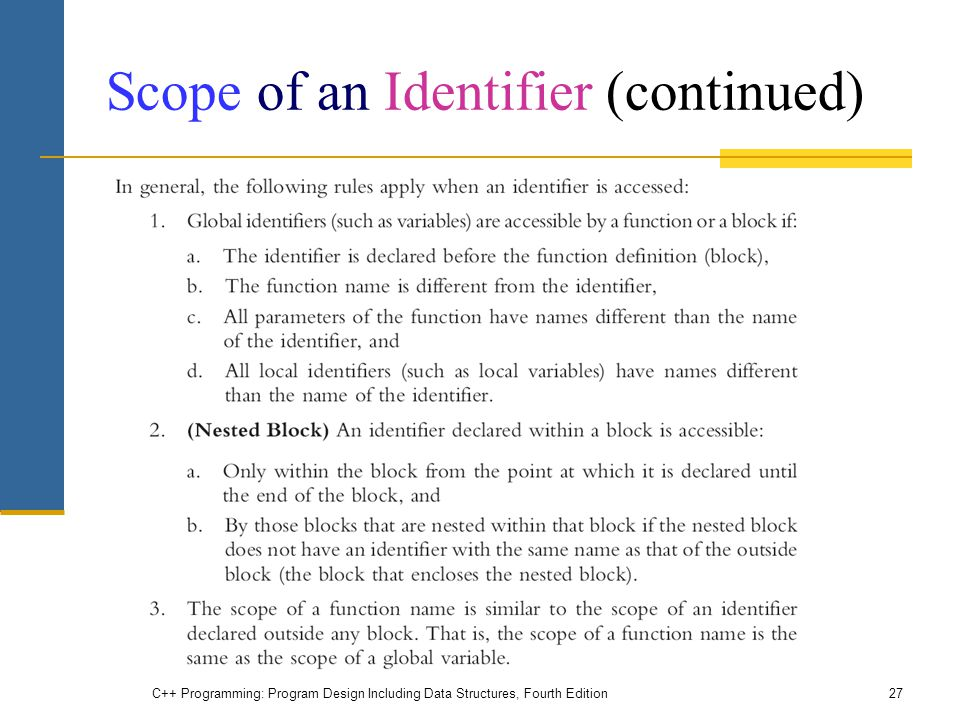 Scope of an Identifier (continued) C++ Programming: Program Design Including Data Structures, Fourth Edition27