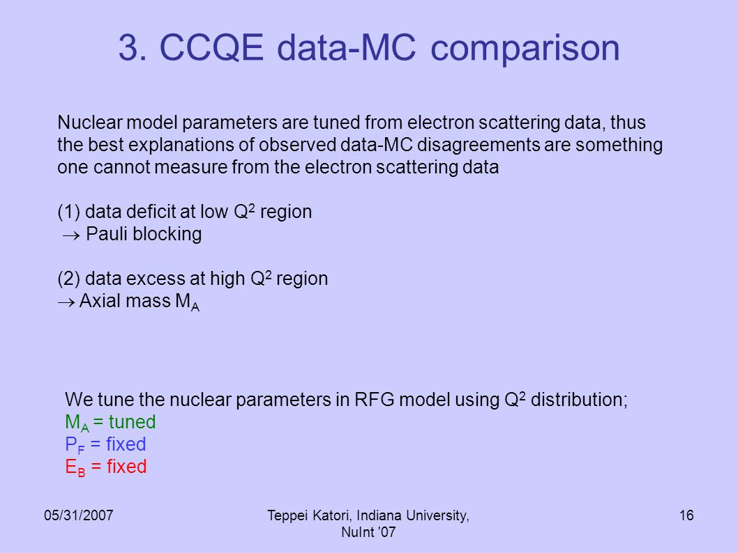 05/31/2007Teppei Katori, Indiana University, NuInt '07 15 3. CCQE data-MC comparison The data-MC disagreement is characterized by 2 features; (1) data