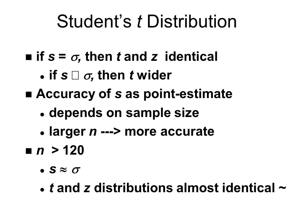 Student's t Distribution if s = , then t and z identical if s , then t wider n Accuracy of s as point-estimate l depends on sample size l larger n ---> more accurate n n > 120 s   l t and z distributions almost identical ~