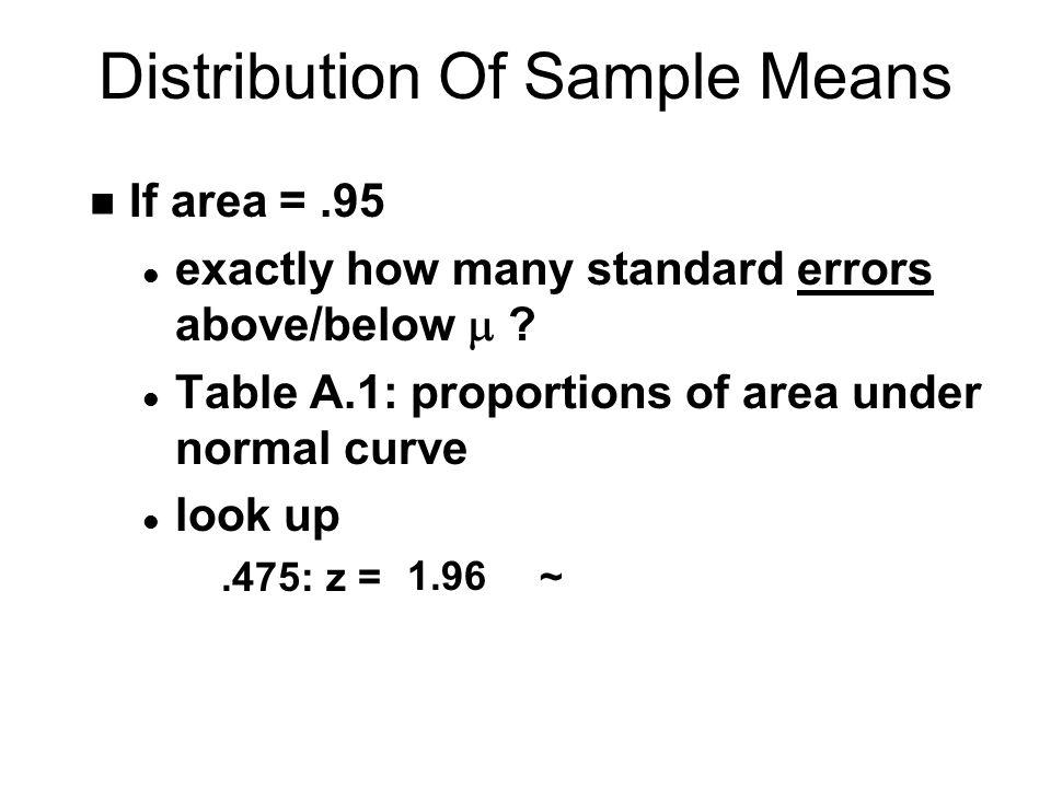 Distribution Of Sample Means n If area =.95 exactly how many standard errors above/below  .