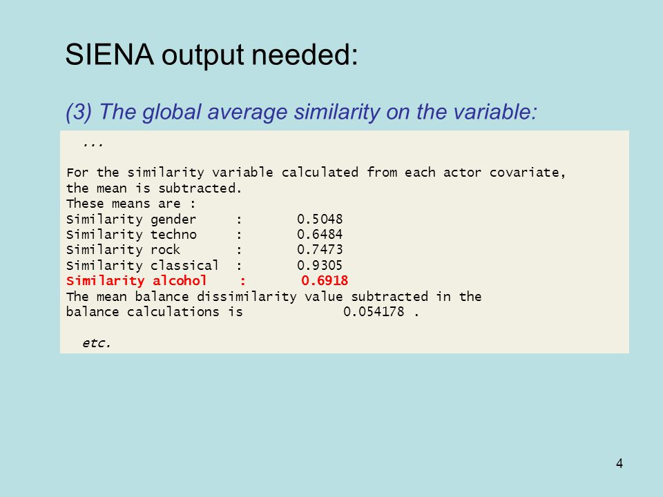 4 SIENA output needed: (3) The global average similarity on the variable:...