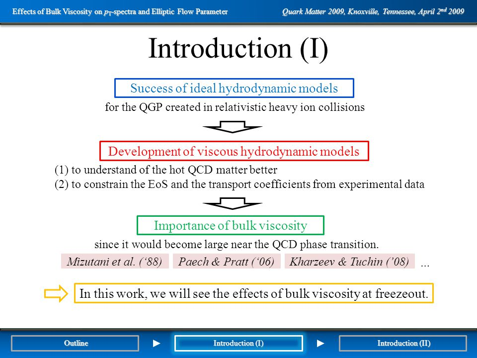 Outline Introduction (I) Paech & Pratt ('06)Mizutani et al.