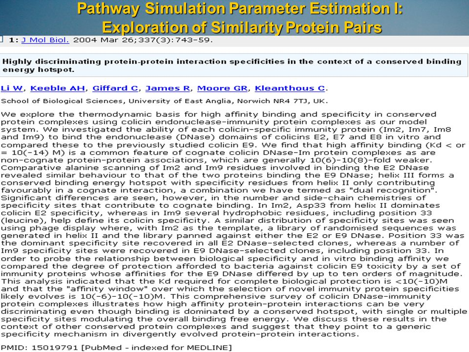 Pathway Simulation Parameter Estimation I: Exploration of Similarity Protein Pairs
