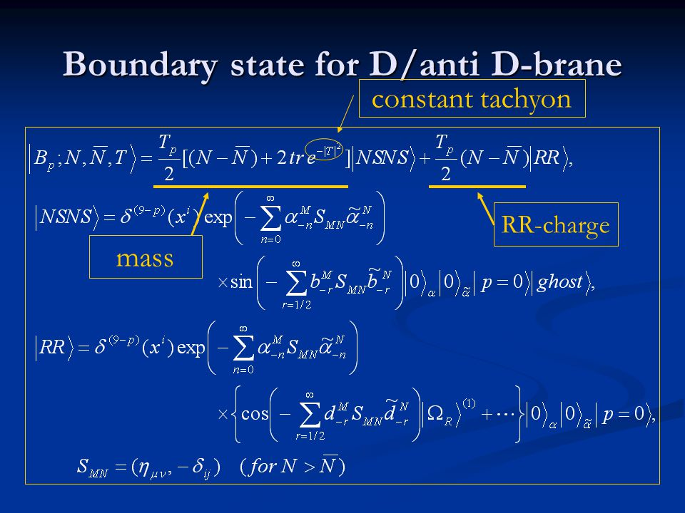 Boundary state for D/anti D-brane mass RR-charge constant tachyon
