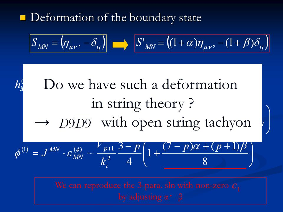 Deformation of the boundary state Deformation of the boundary state We can reproduce the 3-para. sln with non-zero by adjusting α ・ β Do we have such