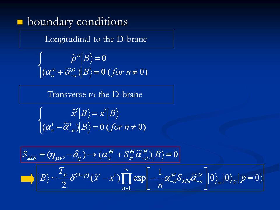 boundary conditions boundary conditions Longitudinal to the D-brane Transverse to the D-brane