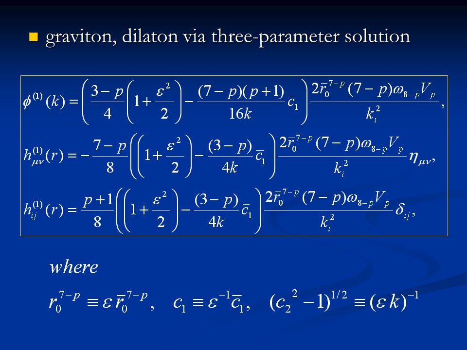 graviton, dilaton via three-parameter solution graviton, dilaton via three-parameter solution