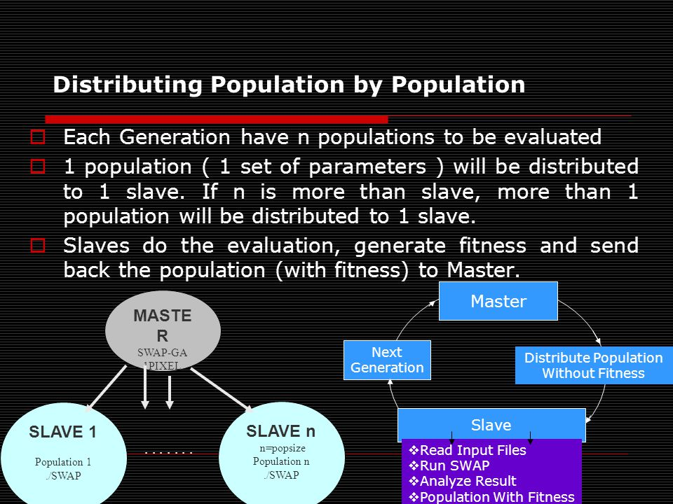 Distributing Population by Population  Each Generation have n populations to be evaluated  1 population ( 1 set of parameters ) will be distributed