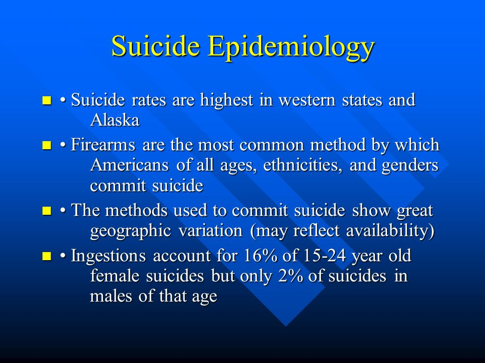 Suicide Epidemiology Suicide rates are highest in western states and Alaska Suicide rates are highest in western states and Alaska Firearms are the mo