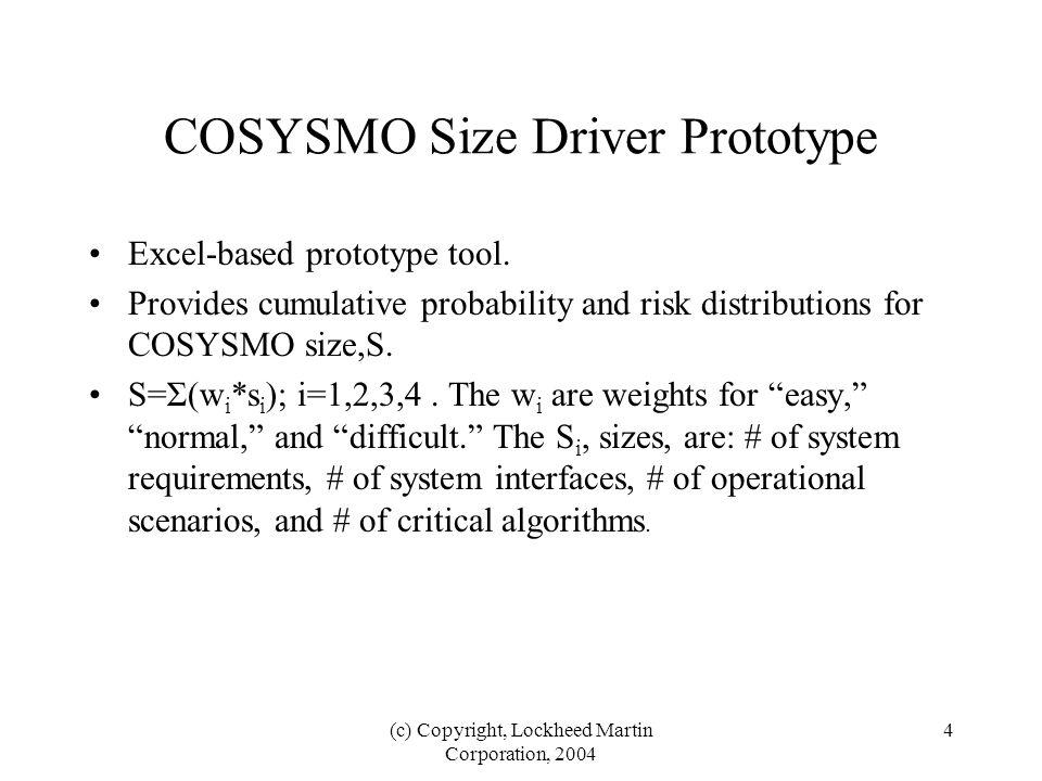 (c) Copyright, Lockheed Martin Corporation, 2004 5 Example, Illustrative Application of COSYSMO Prototype