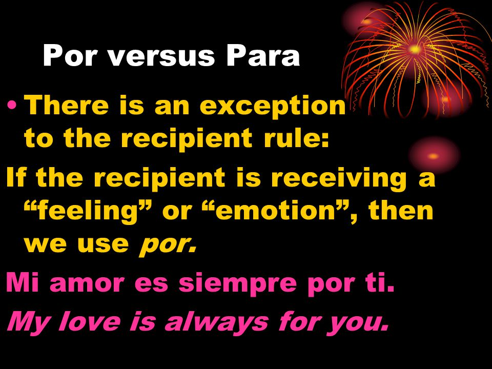 Para Para is used to indicate recipient. The recipient does not have to be a person.