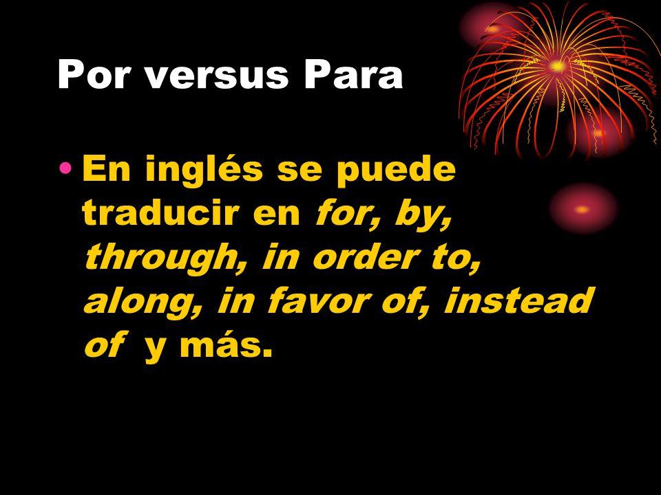 Por versus Para Las palabras por y para tienen unos sentidos muy específicos en español.
