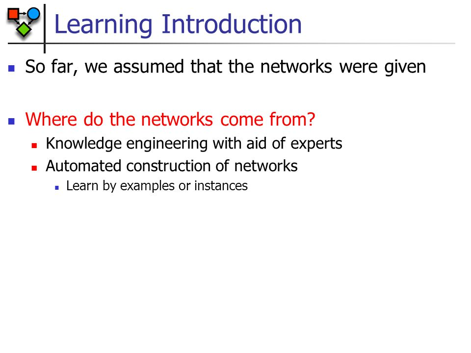 Learning Introduction Input: dataset of instances D={d[1],...d[m]} Output: Bayesian network Measures of success How close is the learned network to the original distribution Use distance measures between distributions Often hard because we do not have the true underlying distribution Instead, evaluate performance by how well the network predicts new unseen examples ( test data ) Classification accuracy How close is the structure of the network to the true one.