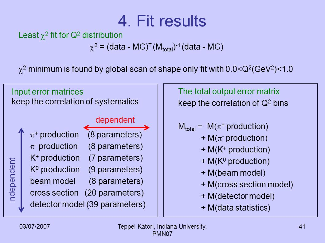 03/07/2007Teppei Katori, Indiana University, PMN07 41 4. Fit results Least  2 fit for Q 2 distribution  2 = (data - MC) T (M total ) -1 (data - MC)