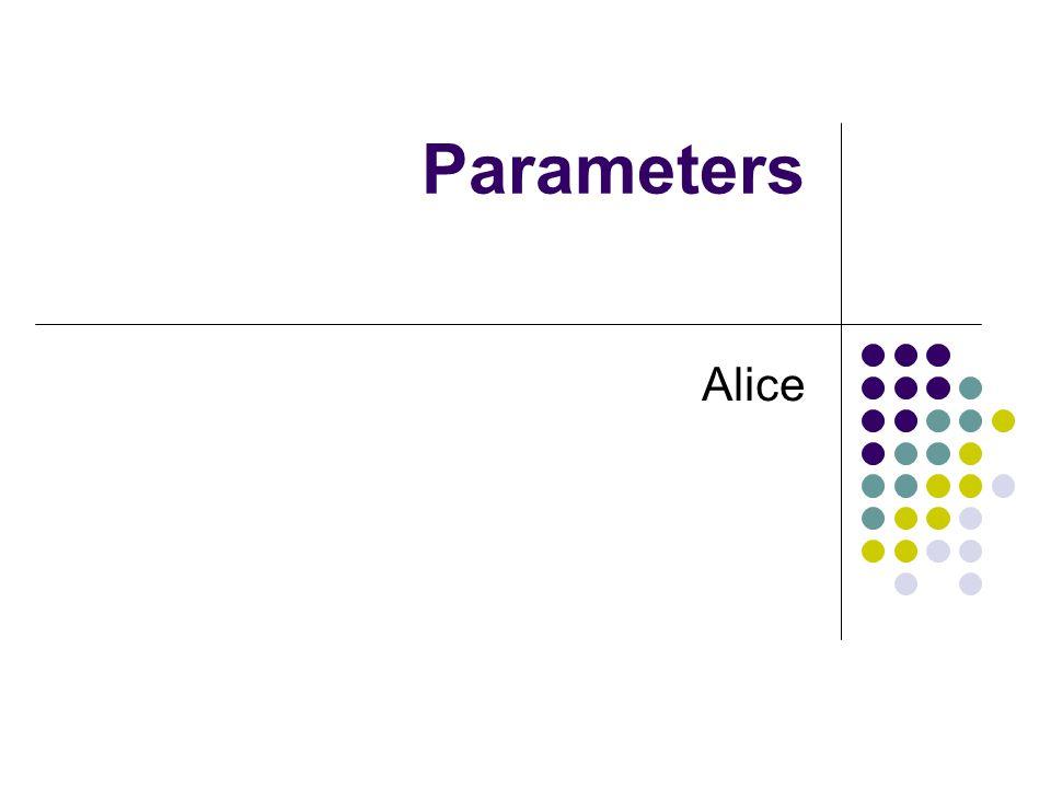 Parameters Alice