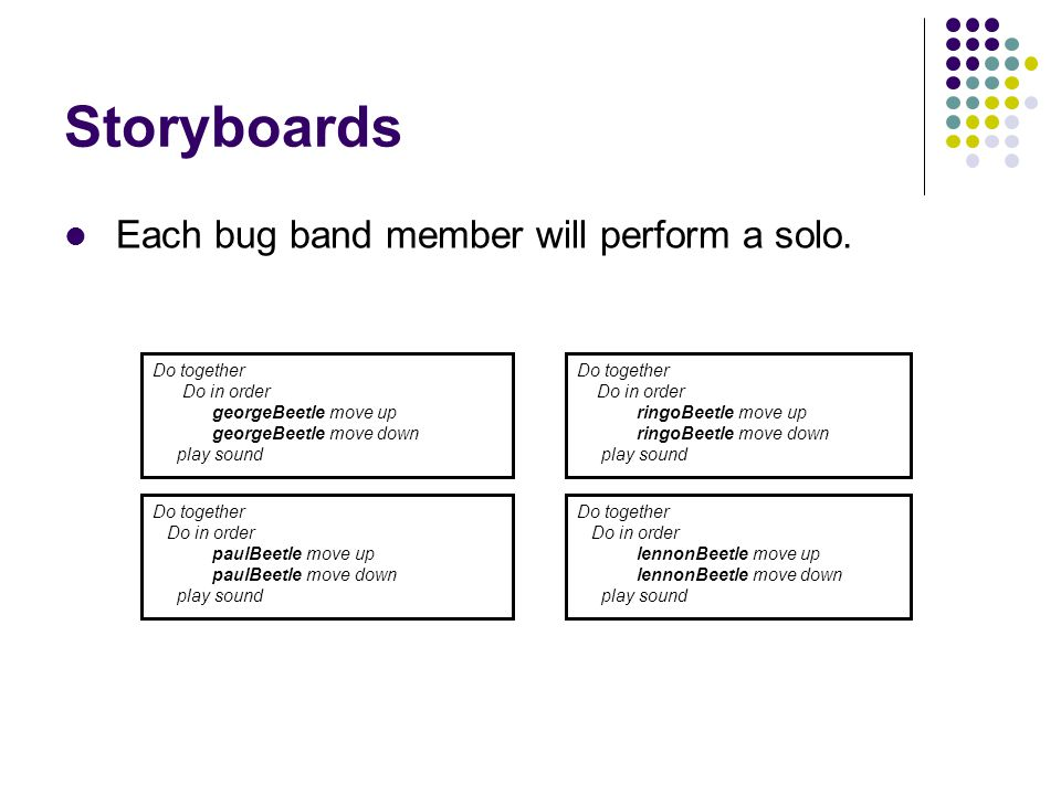 Storyboards Each bug band member will perform a solo. Do together Do in order georgeBeetle move up georgeBeetle move down play sound Do together Do in