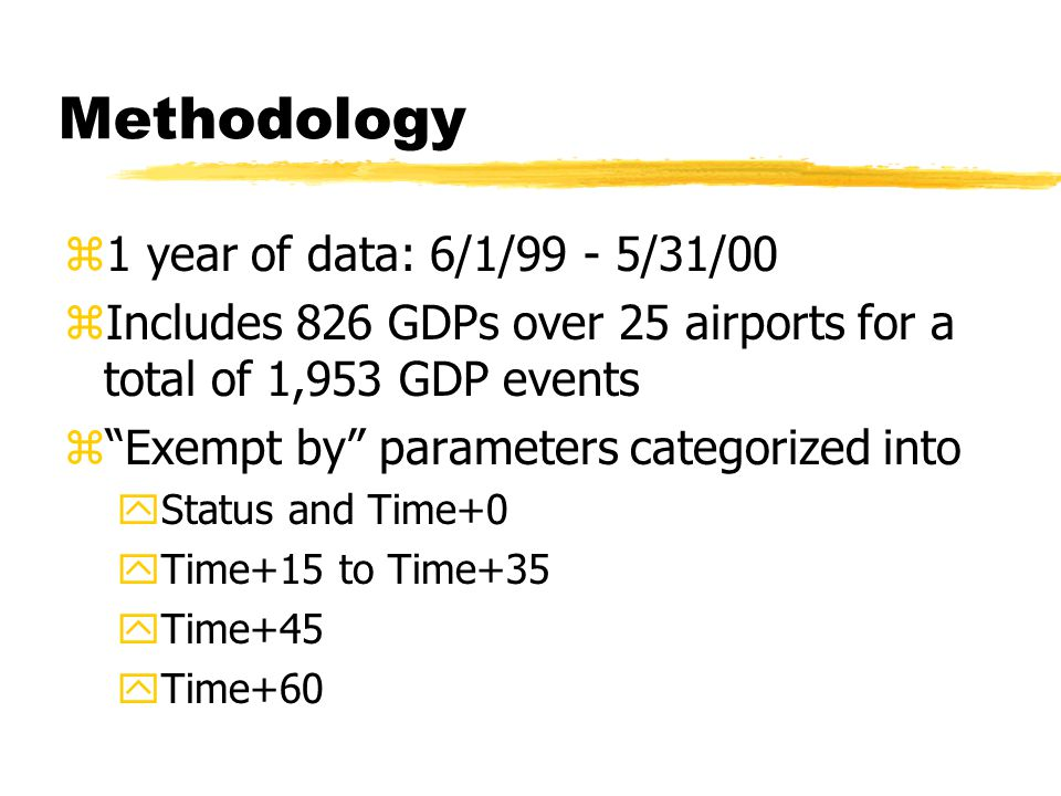 """Methodology z1 year of data: 6/1/99 - 5/31/00 zIncludes 826 GDPs over 25 airports for a total of 1,953 GDP events z""""Exempt by"""" parameters categorized"""