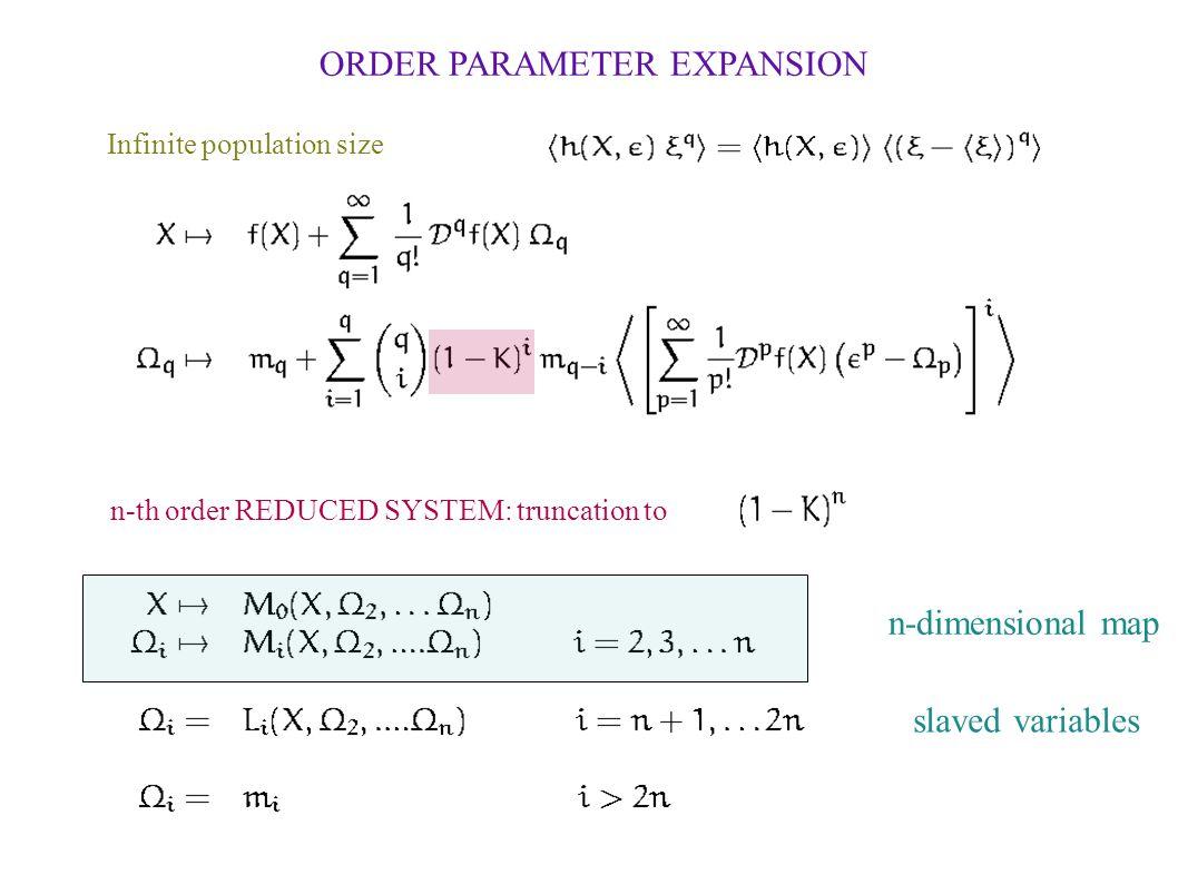 ORDER PARAMETER EXPANSION Infinite population size n-th order REDUCED SYSTEM: truncation to n-dimensional map slaved variables