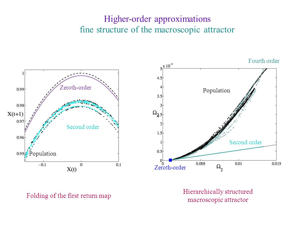 Higher-order approximations fine structure of the macroscopic attractor Folding of the first return map Hierarchically structured macroscopic attractor Zeroth-order Second order Fourth order Population Second order Zeroth-order