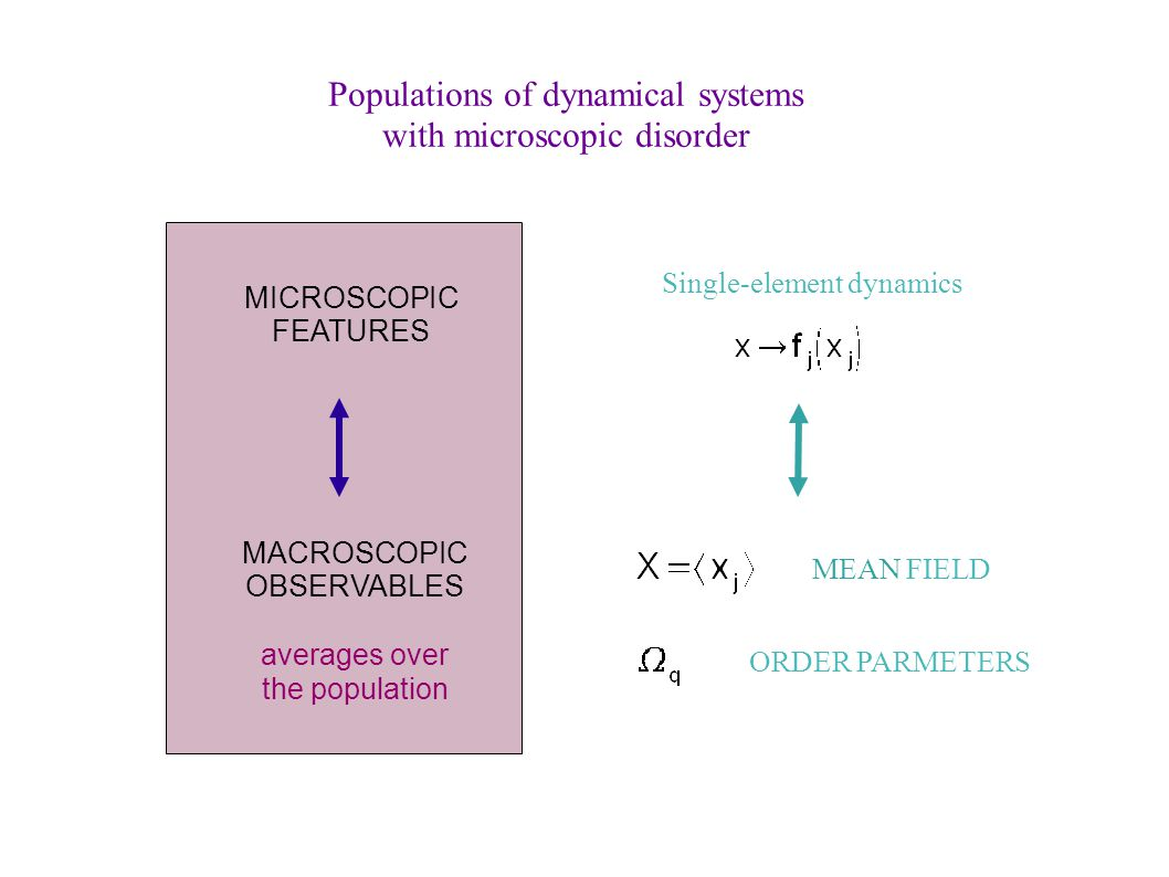 MICROSCOPIC FEATURES MACROSCOPIC OBSERVABLES averages over the population MEAN FIELD Single-element dynamics ORDER PARMETERS Populations of dynamical systems with microscopic disorder