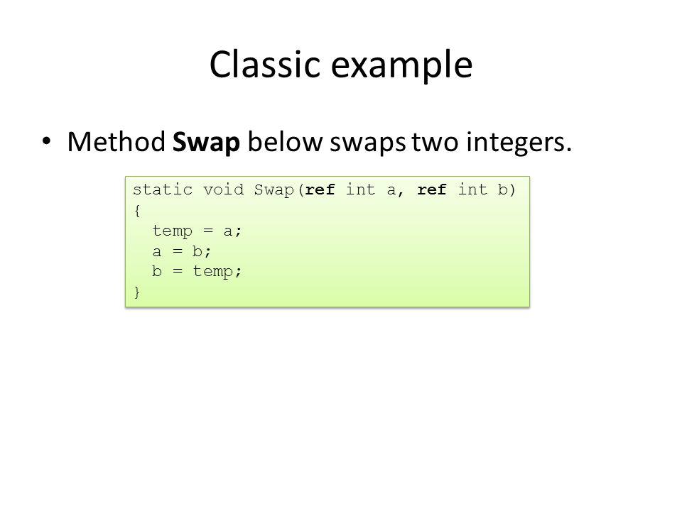 Classic example Method Swap below swaps two integers.
